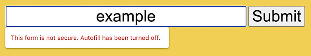 Aperçu Chrome de la fonctionnalité pour signaler les formulaires non sécurisés.