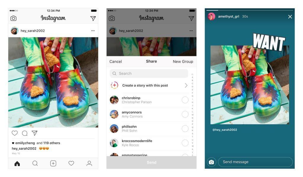 Il est désormais possible de partager des posts dans les stories Instagram