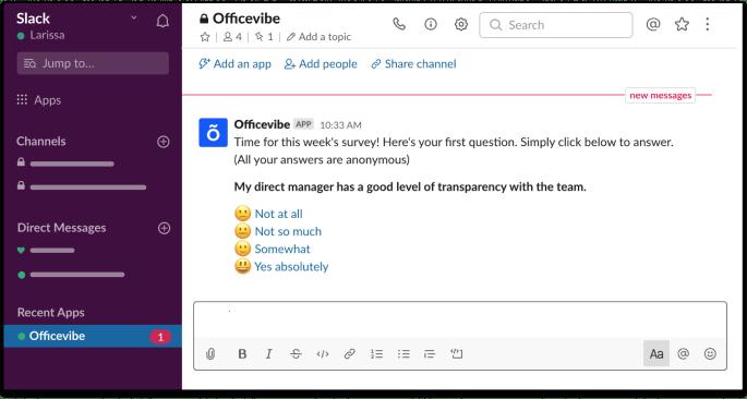 Aperçu d'un sondage Officevibe sur Slack