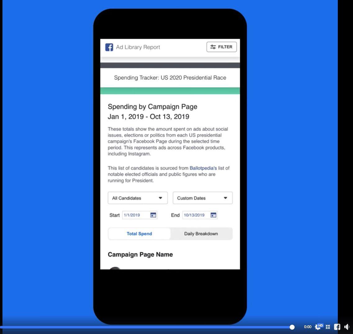 Outil mis à disposition par Facebook pour rétudier les dépenses des politiques pour leur campagne publicitaire