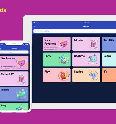 Spotify Kids : l'interface de l'application sur un iPhone et un iPad.