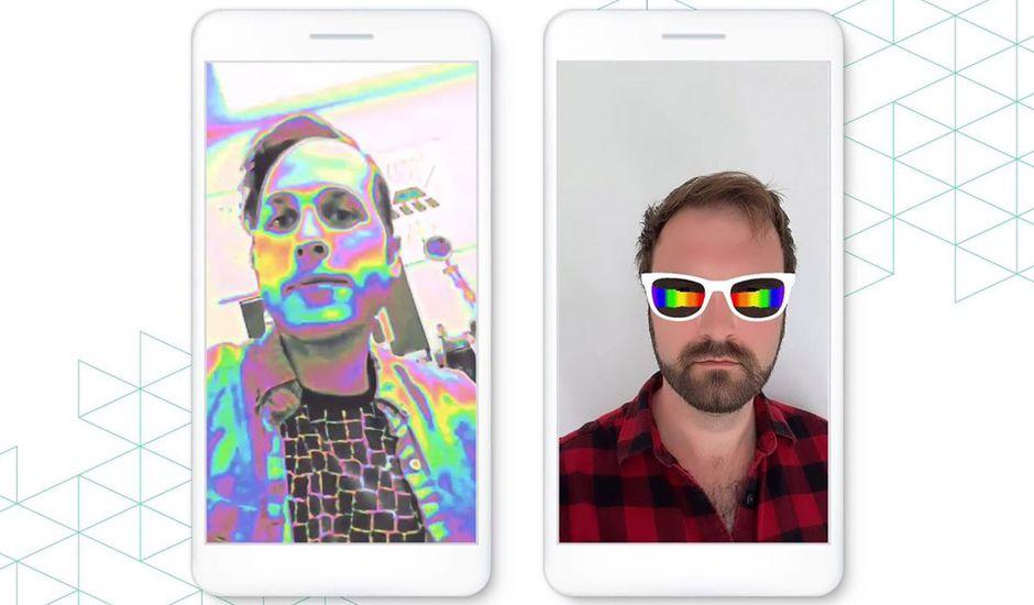 Deux smartphones affichant des filtres Instagram réactifs à la musique.