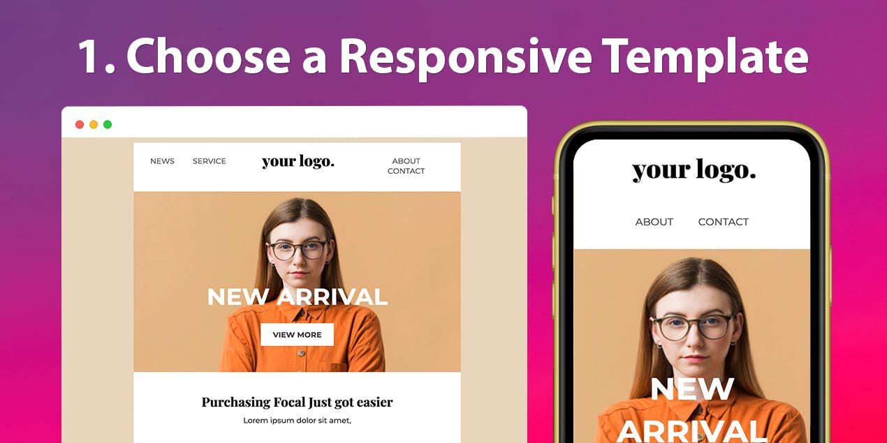 template responsive proposé par Unlayer
