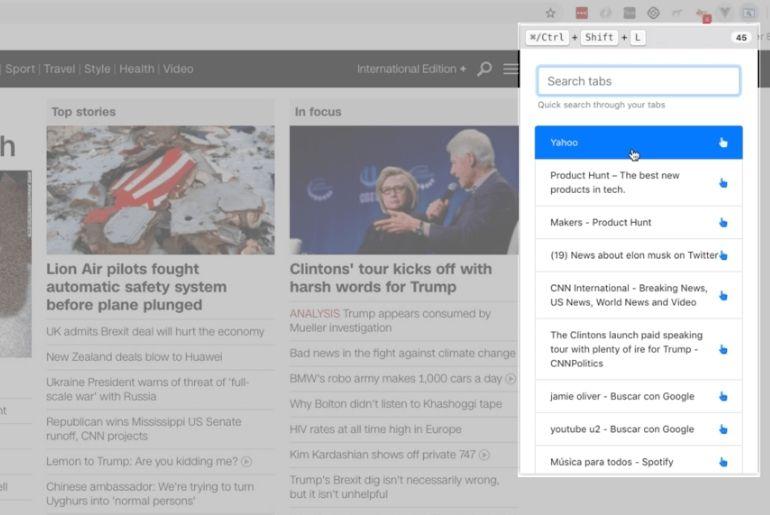une extension Chrome qui permet de chercher dans ces onglets