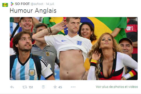 Twitter et So Foot, humour anglais