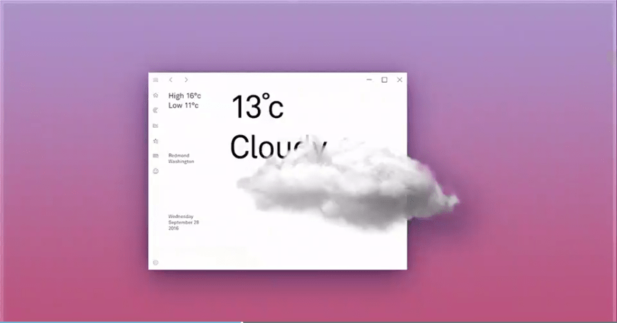 Météo Fluent Design Microsoft