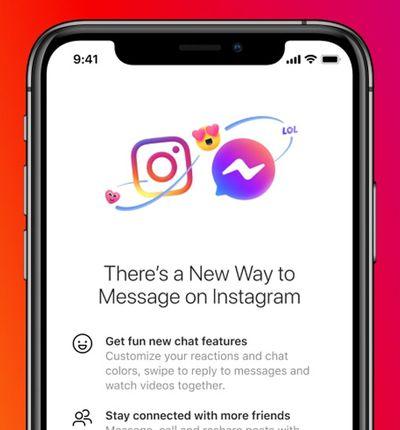 Aperçu de la fusion entre Messenger et Instagram Direct.