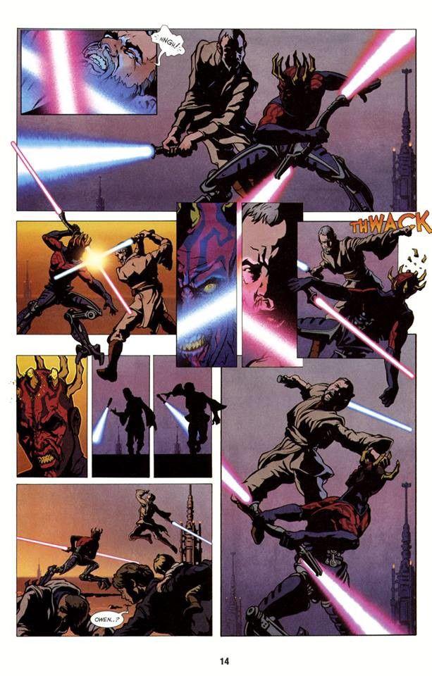 obi-wan kenobi combattant dark maul sur la planète tatooine après la guerre des clones