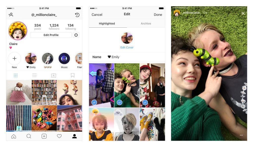 Aperçu de Instagram Stories Highlights sur iOS