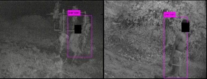 La caméra TrailGuard AI en train d'identifier des braconniers