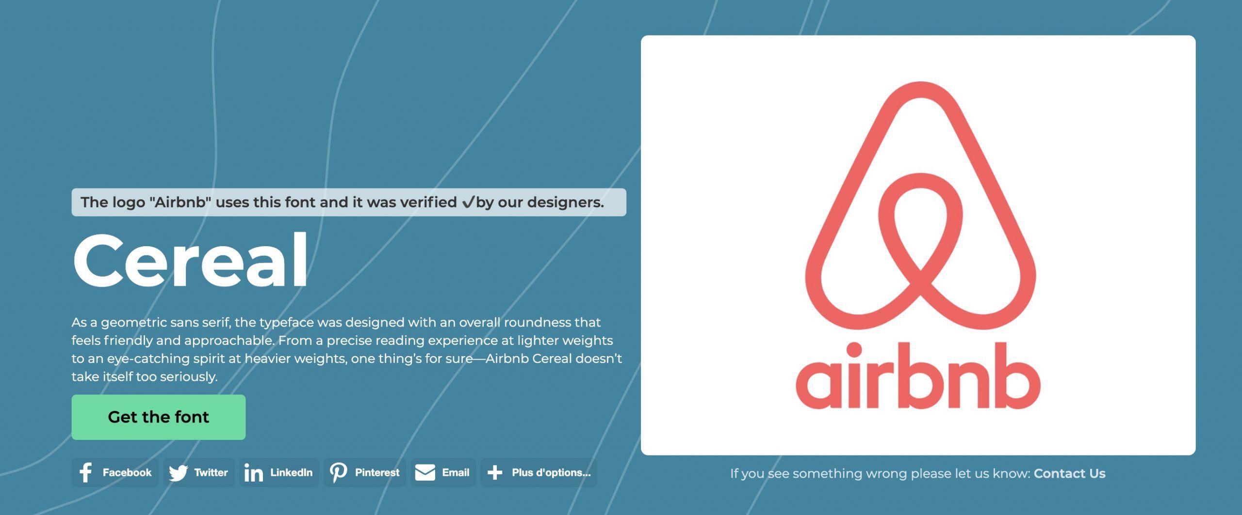 police d'écriture utilisée sur le logo Airbnb