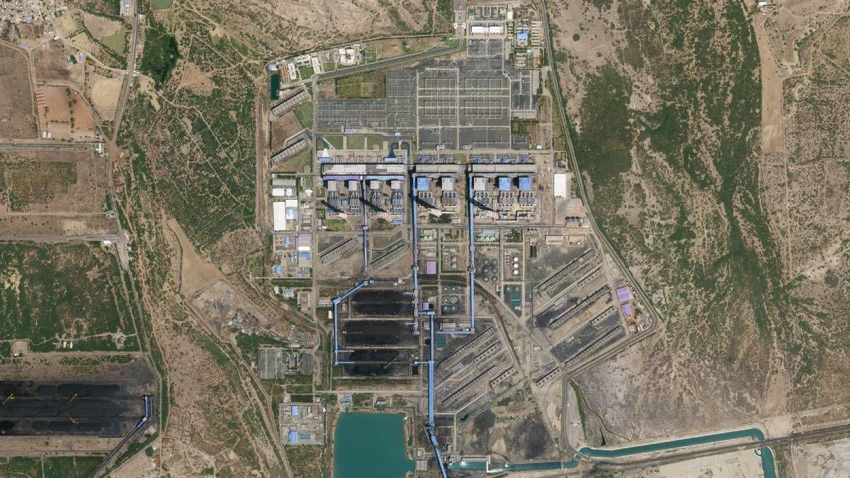 L'image satellite d'une centrale électrique en Inde.
