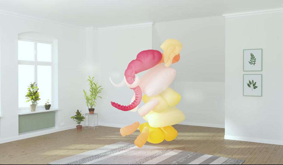 Un éléphant gonflable dans une pièce.
