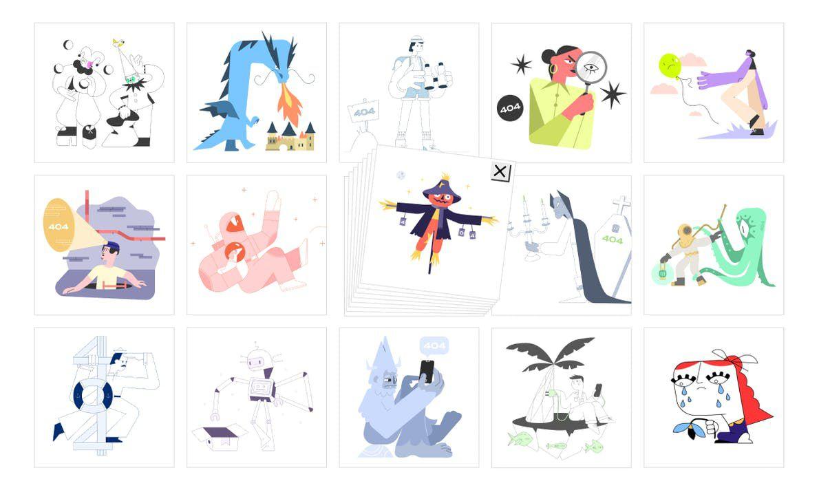 Exemple de différentes illustrations proposées sur 404 Illustrations