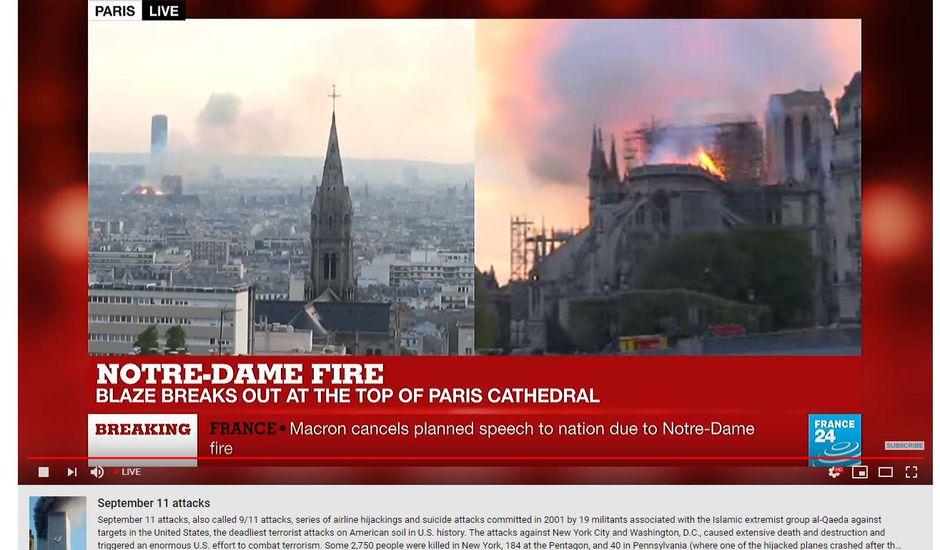 Notre-Dame en flamme relié au 11 septembre 2011 sur YouTube