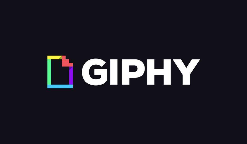 Le logo de Giphy sur un fond noir.