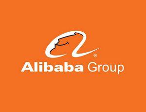 Le logo d'Alibaba sur un fond orange.