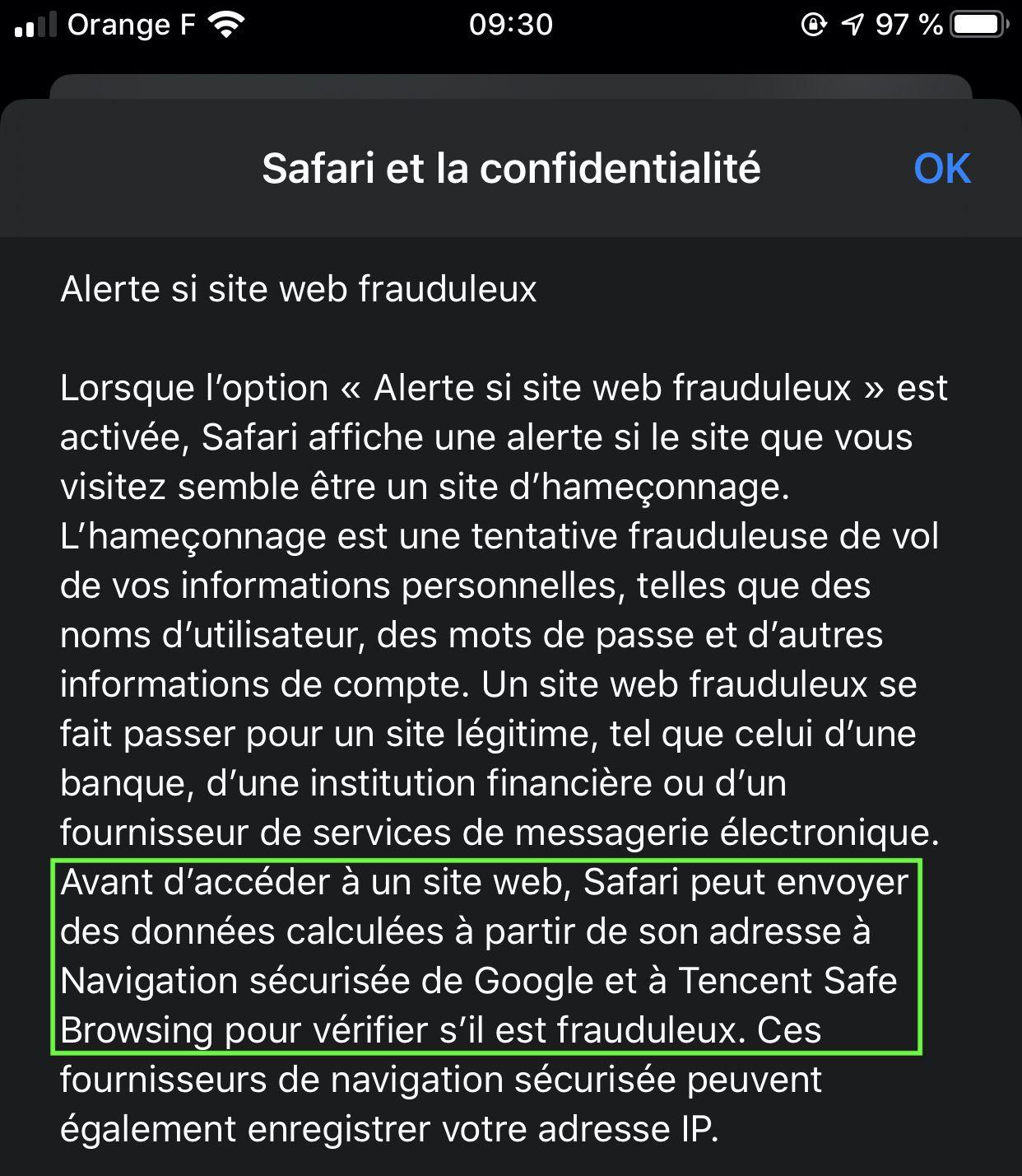 Capture d'écran de la rubrique Safari et la confidentialité sur iOS 13
