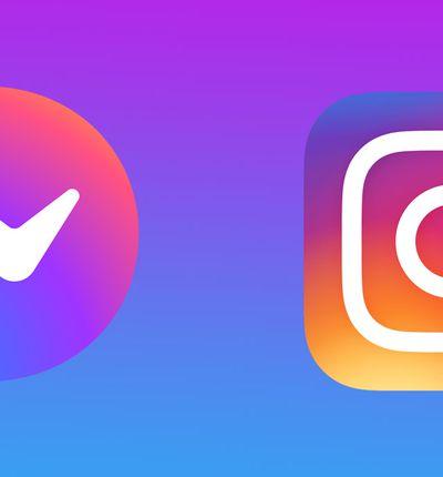 Les logos d'Instagram et de Messenger sur un fond dégradé.