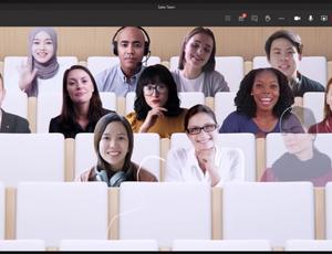 Mise en situation de l'intégration des participants de Microsoft Teams dans un amphithéâtre