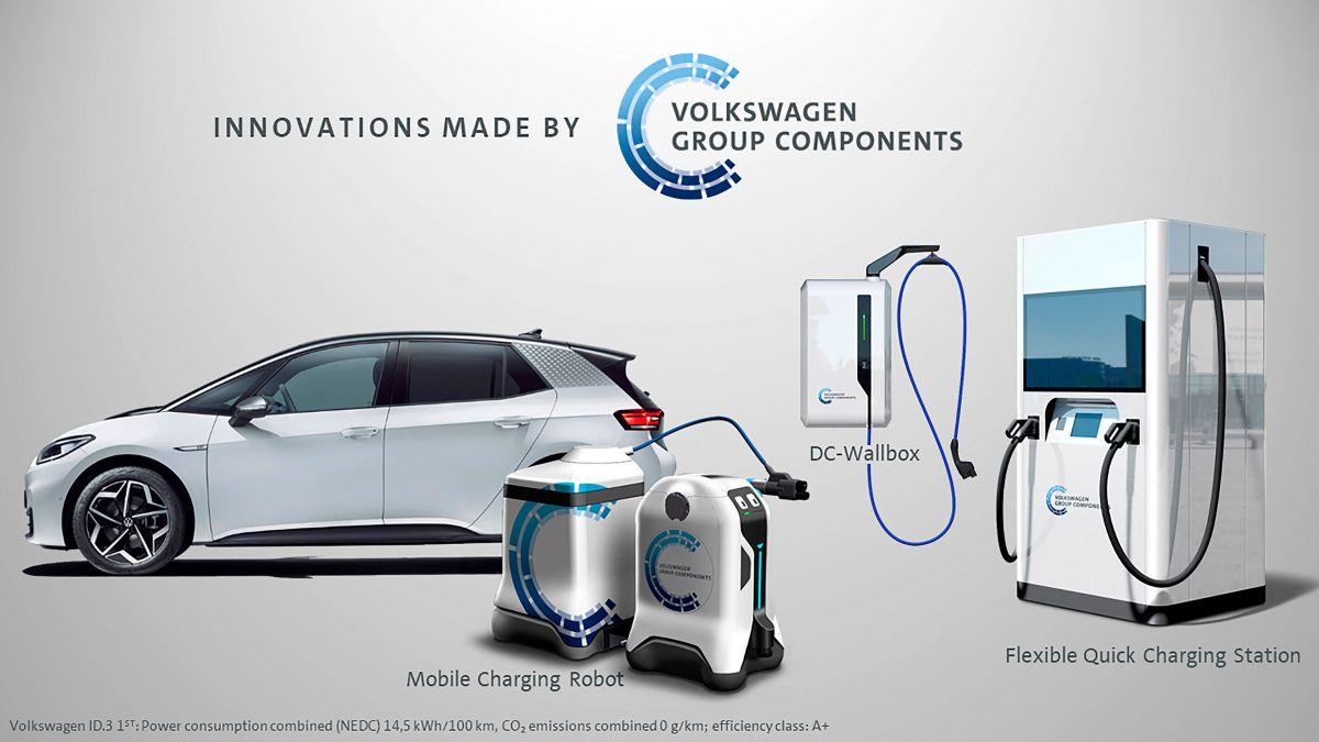Volkswagen met au point plusieurs stations de recharge dans un robot pour les années à venir.