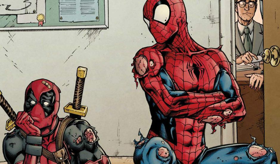 Comics duo Deadpool Spider-Man