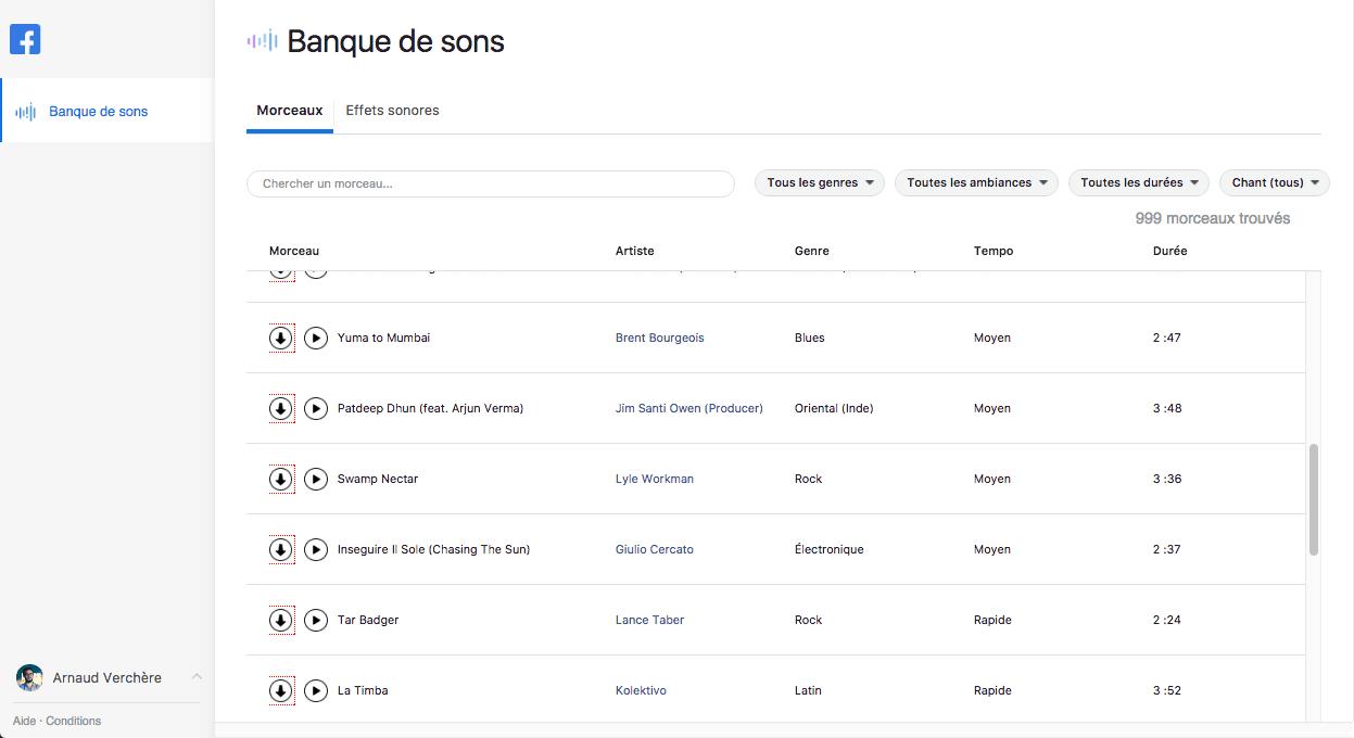 facebook outils de publications banque de sons