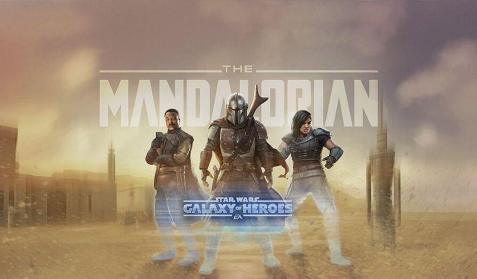 les personnages de The Mandalorian dans le jeu mobile Star Wars : Héros de la Galaxie