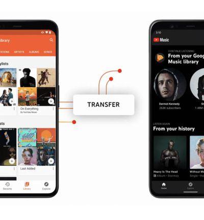 Deux smartphones effectuant un transfert entre Google Play Music et YouTube Music.