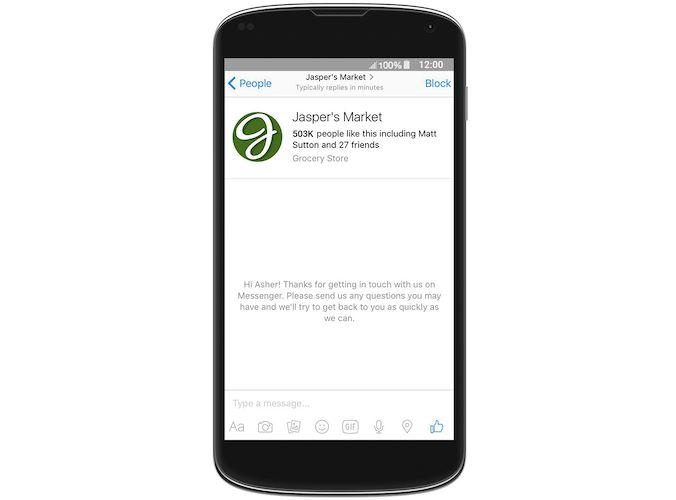 Exemple de message d'accueil, en fond dans la messagerie tant que l'utilisateur n'a pas envoyé de message.
