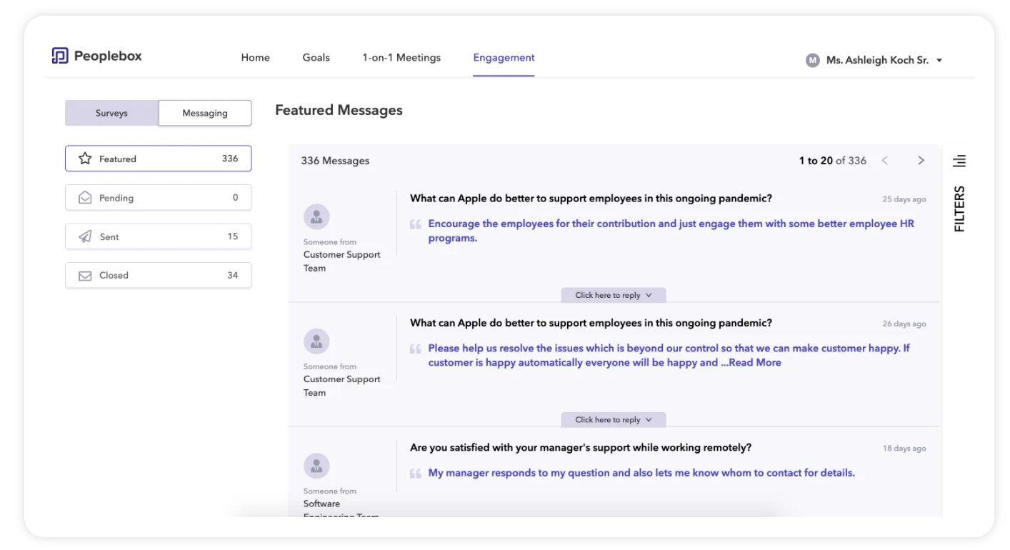 réponses aux messages de manière anonymes via Peoplebox