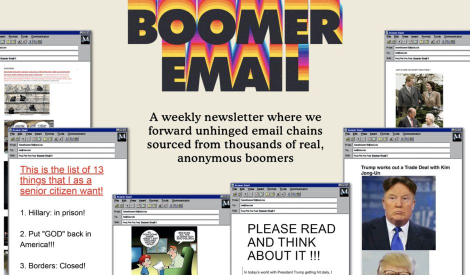 Page d'accueil de Boomer email