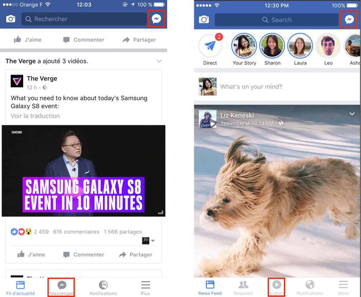 facebook difference interface messenger