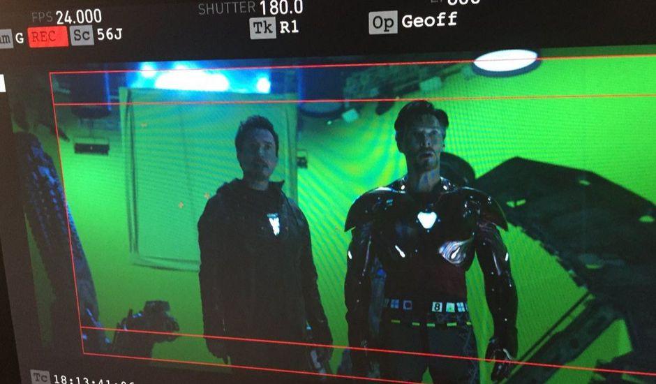 Photo du tournage d'Avengers : Infinity War avec Doctor Strange et Iron Man