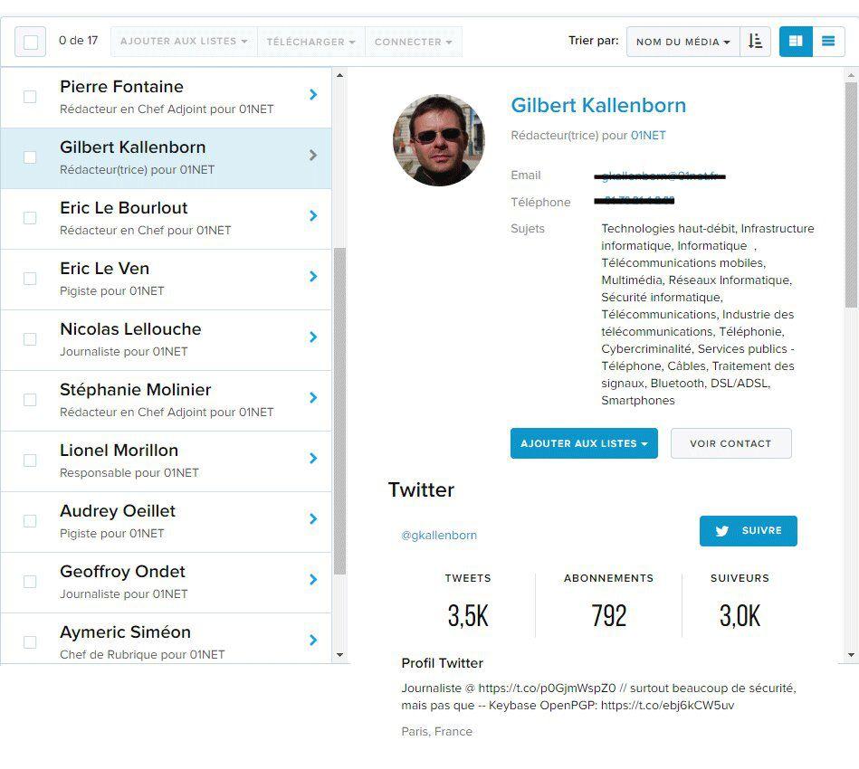 Capture d'écran d'une fiche journaliste sur le Cision Communications Cloud.