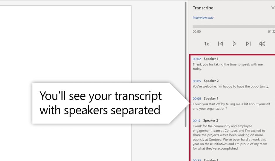 Interface de Microsoft Word lors de l'utilisation de la fonctionnalité transcription