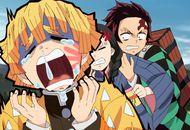 Zenitsu qui pleure dans l'anime Demon Slayer
