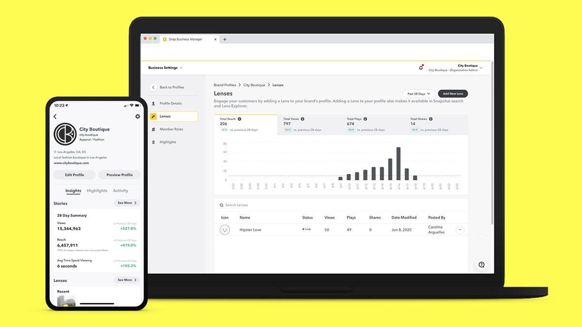 L'interface du Business Manager Snapchat pour les Brand Profiles.