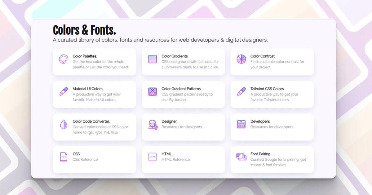 Colors & Fonts : une bibliothèque de couleurs, de polices et de ressources pour les développeurs et designers