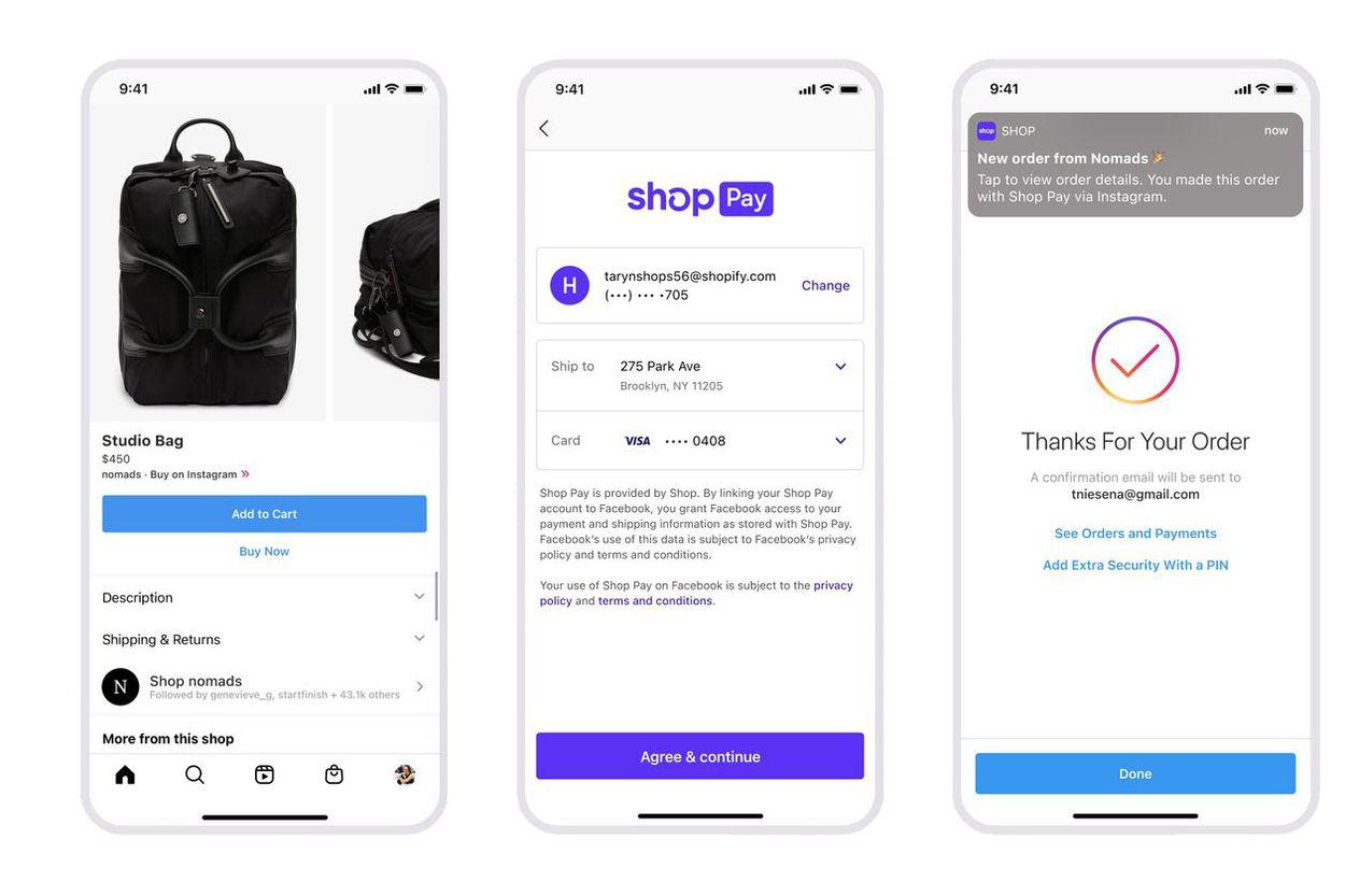 schéma présentant les étapes de paiement en utilisant Shop Pay de Shopify sur Instagram