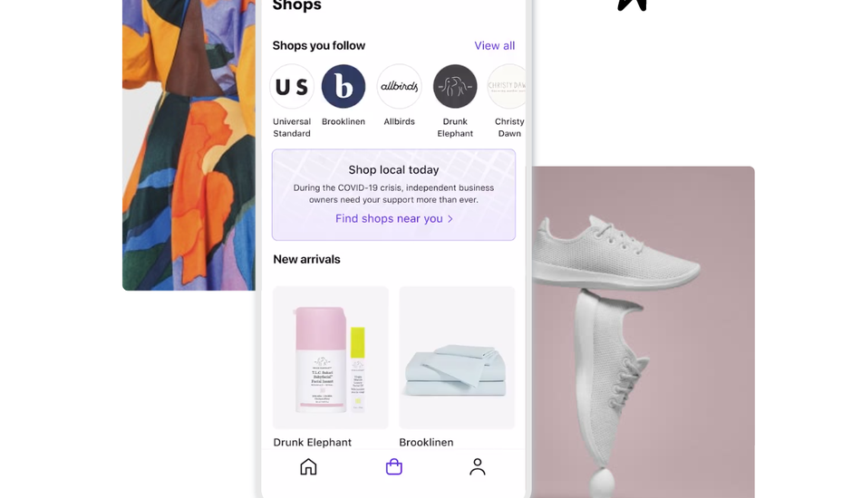 Capture d'écran de l'application Shop lancée par Shopify