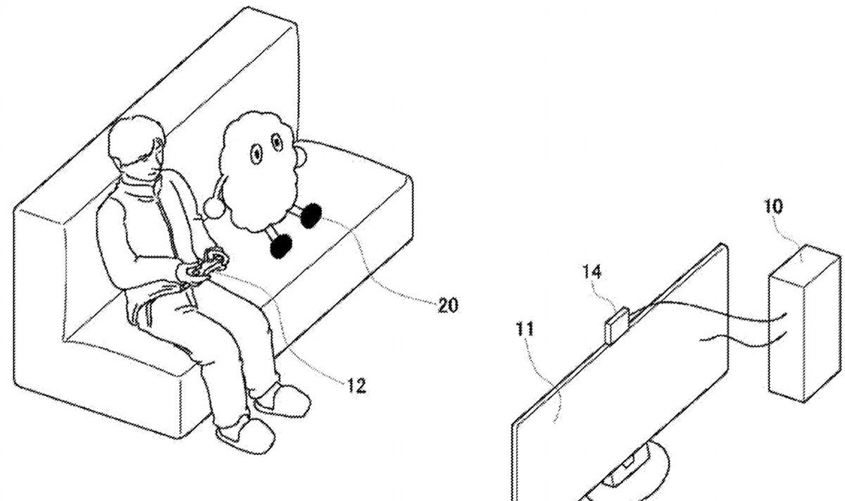 Le dessin du robot compagnon de Sony qui est assis sur un canapé en train de jouer à la console avec un humain.