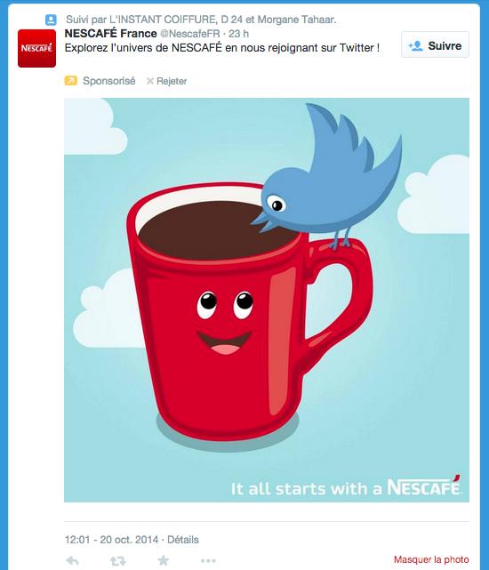 pub Twitter campagne Nescafé