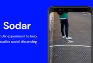 Un smartphone avec l'application Sodar sur un fond bleu.