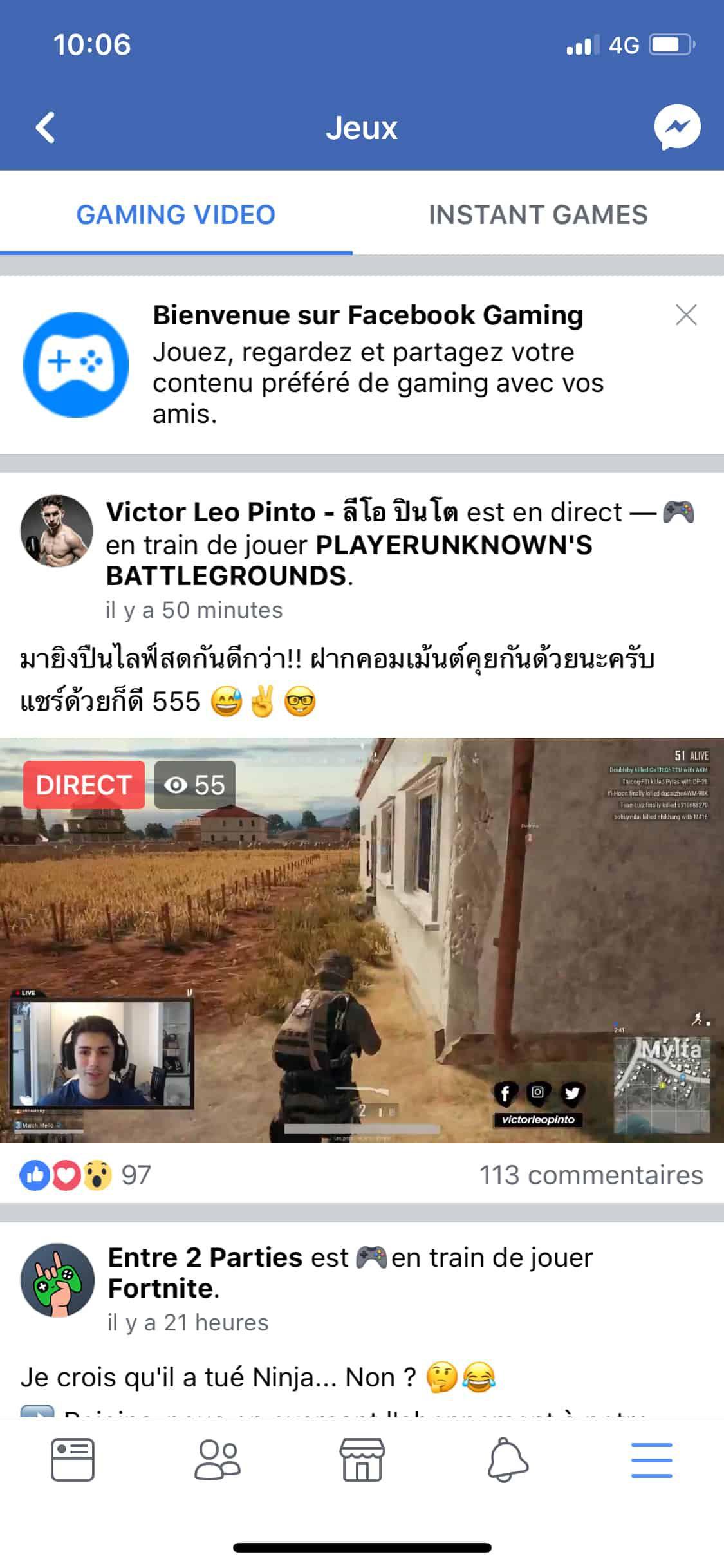 facebook gaming : fb.gg sur iOS