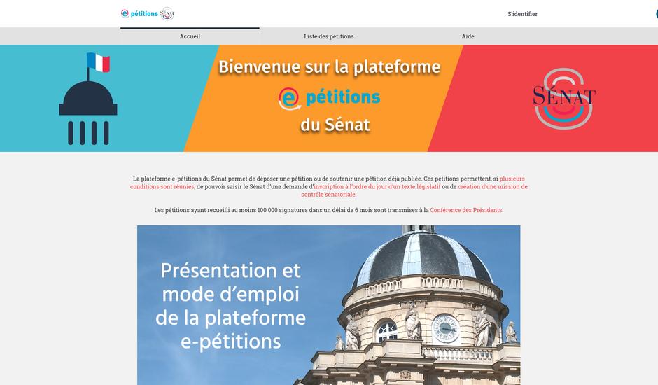La plateforme de dépot et de signatures de pétitions déployée par le Sénat