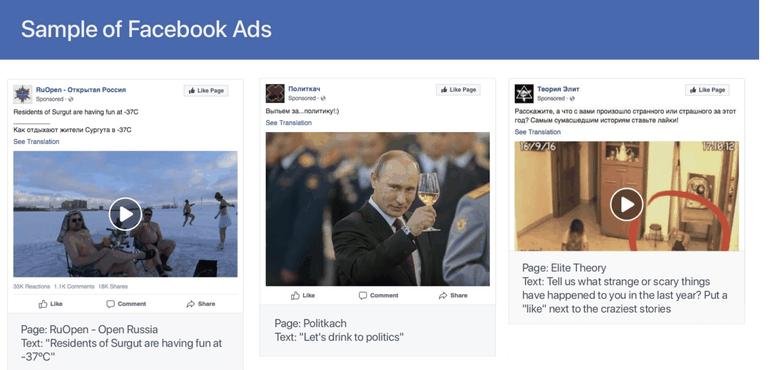 Exemple de publicités postées par les pages gérées par l'IRA
