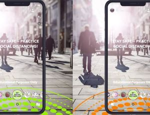 Snapchat propose des filtres pour favoriser la distanciation sociale.