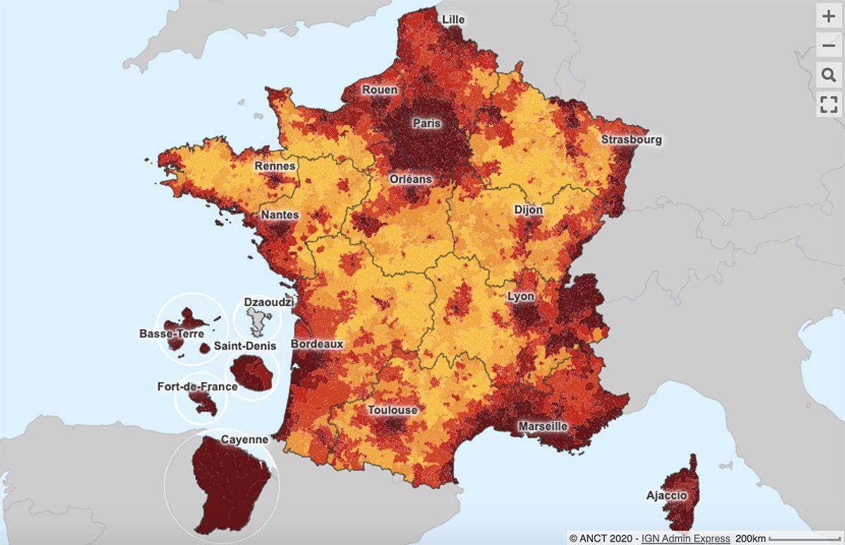 La carte interactive des loyers moyens en France.
