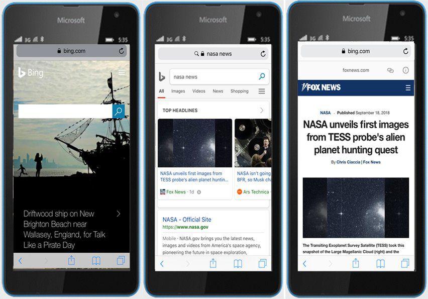 Carrousel de news en AMP sur Bing